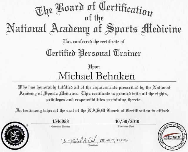 NASM Certified Personal Trainer Certifications