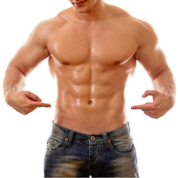 Man Pointing at His Abdominals