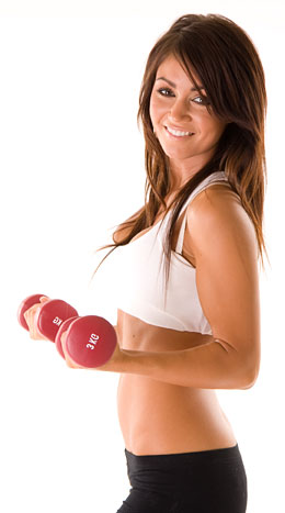 woman curling dumbbells to work her arms