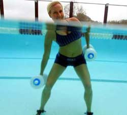 woman utilizing a water aerobics workout