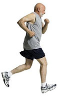 man performing tempo run