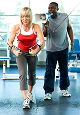 demanding personal trainer with client