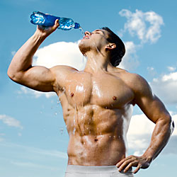 fit man drinking water for health