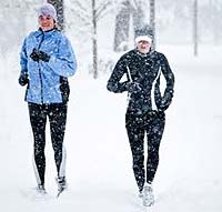 Women Exercising in Winter Snow