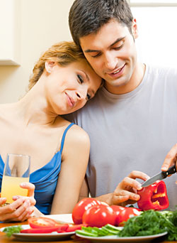 man and woman eating healthy
