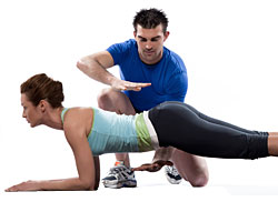 woman performing plank exercise