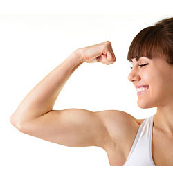 strong proud woman flexing muscles