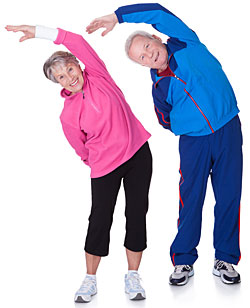 older couple performing flexibility exercises