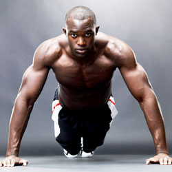 man utilizing bodyweight exercises