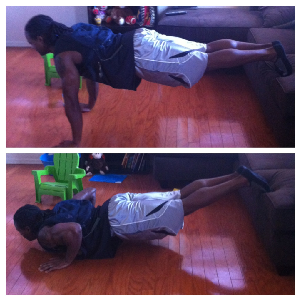 Bag Elevated Feet Push Ups