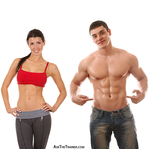 man woman with flat 6 pack abs
