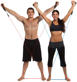 male and female student working out with resistance bands